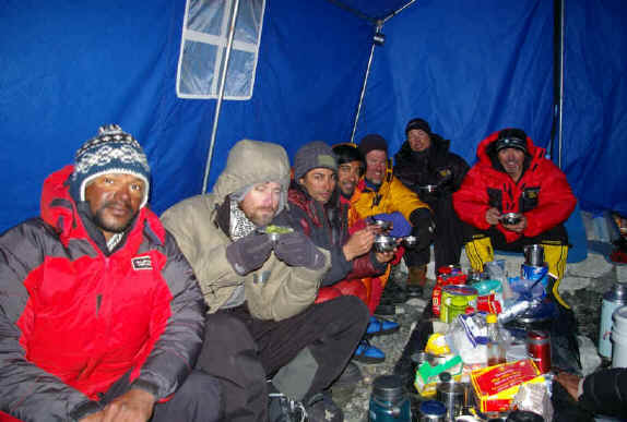 Peak Freaks Everest Team 2008 hanging out at Camp 2