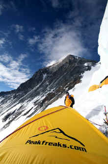 Tim Rippel and Peakfreaks tent on the south col everest